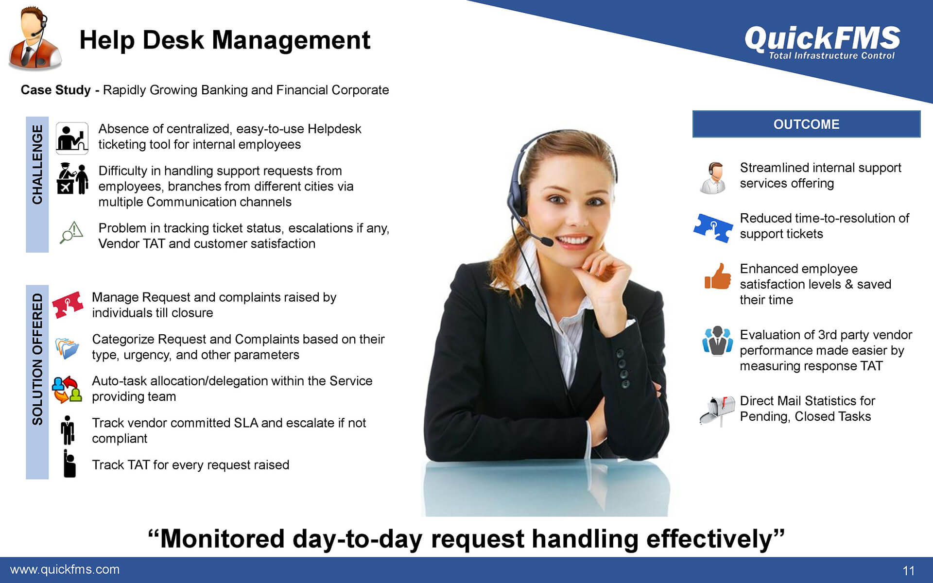 Overview presentation on Help Desk Management - QuickFMS