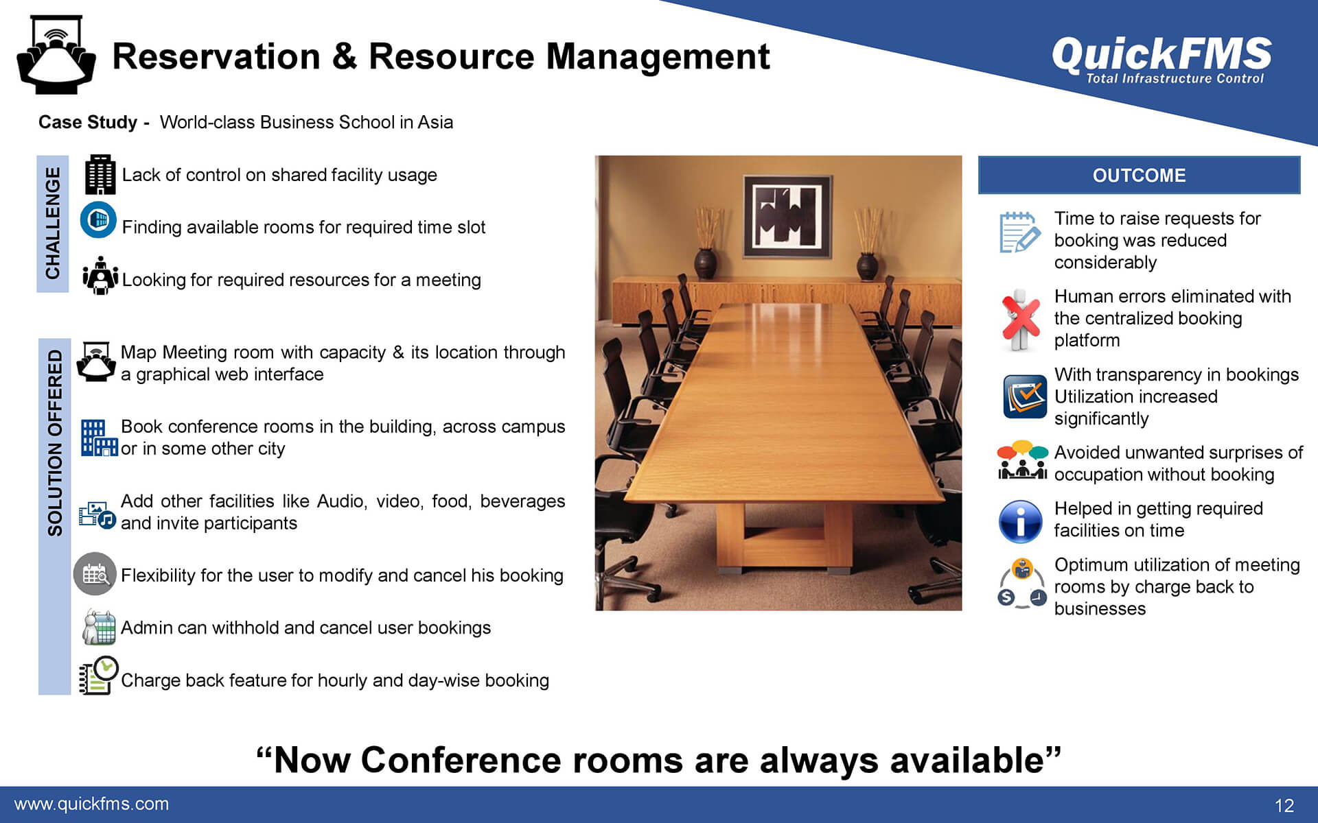 Overview presentation on reservation and resource management - QuickFMS