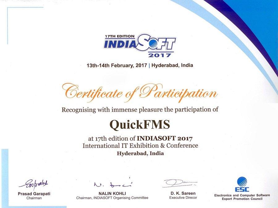 IndiaSoft2017 QuickFMS Certificate