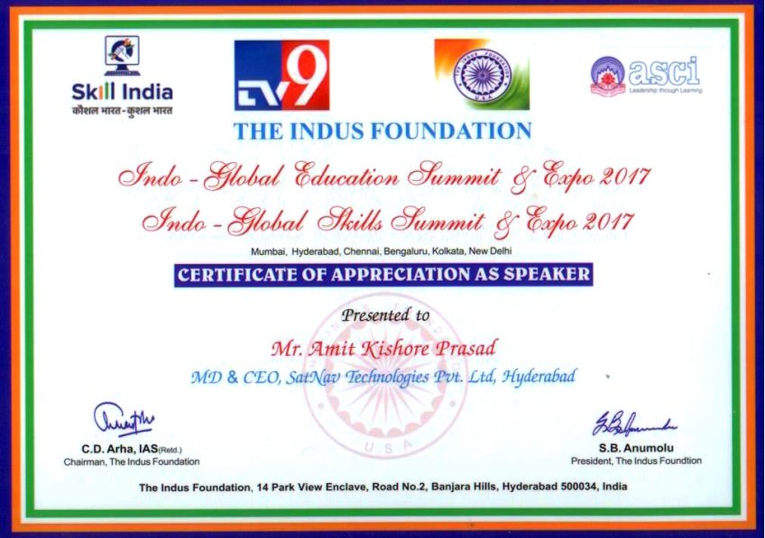 Certificate by The Indus Foundation